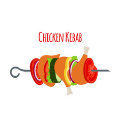 barbecue with chicken vegetables vector image