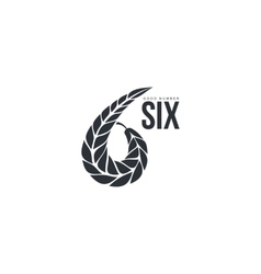 Black and white number six logo formed by wheat vector