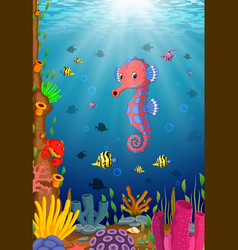 cartoon tropical sea horse vector image vector image