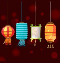 china lamp lantern isolate design vector image vector image