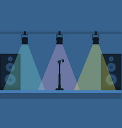 Concert stage with microphone vector
