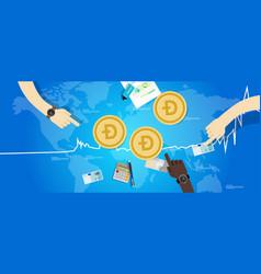Doge coin increase exchange value digital virtual vector