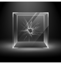 Empty Transparent Broken Crack Glass Box Cube vector image