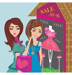 Girls on big shopping sale vector image vector image