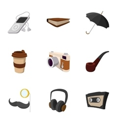 Hipster culture icons set flat style vector