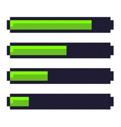 Loading progress bar pixel art cartoon retro game vector