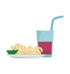 macaroni gourmet plate with soda drink vector image