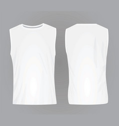 Men white sleeveless t shirt vector