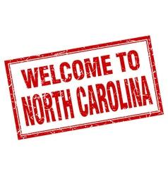North carolina red square grunge welcome isolated vector