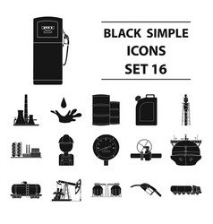 Oil industry set icons in black style big vector