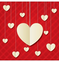 Paper hearts red background Valentines day card vector image