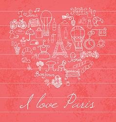 Paris doodles elements hand drawn set withefel vector