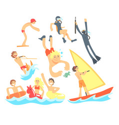People on summer vacation at the sea playing and vector