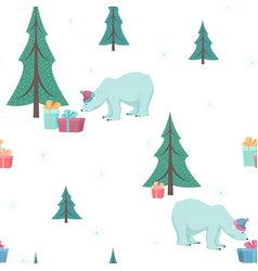 polar bear gift box xmas tree green blue white vector image vector image