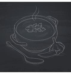 Pot of hot soup vector image