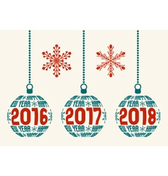 retro Happy New Year 2016-2017-2018 design vector image