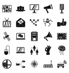 satellite icons set simple style vector image