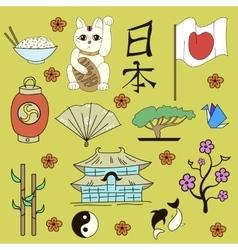Seamless japanese symbols yellow background vector