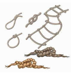 Set of rope elements ladder lasso knots loop vector