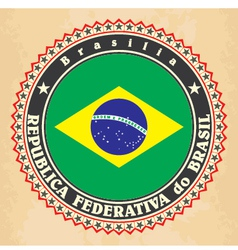Vintage label cards of brazil flag vector