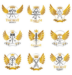 Vintage weapon emblems set heraldic signs vector
