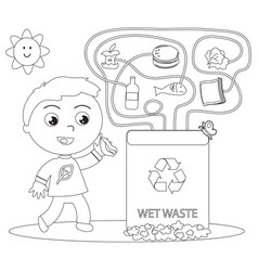 Wet waste recycling coloring game vector