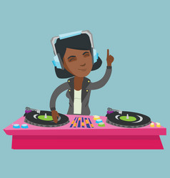 young african dj mixing music on turntables vector image