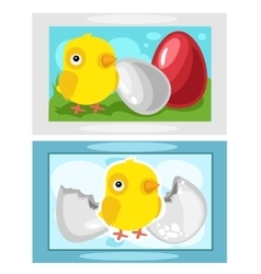 Chicken hatching from eggs picture on wall vector