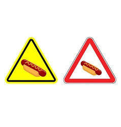 Warning attention hot dog sign dangers yellow vector