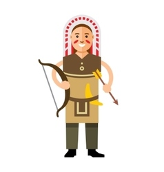 Indian with bow and arrow flat style vector