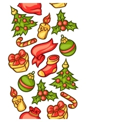 Merry christmas seamless pattern with holiday vector