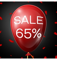Red baloon with 65 percent discounts over black vector