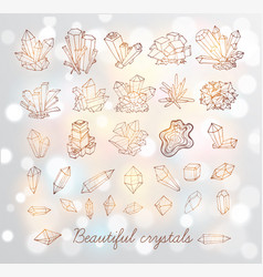 doodle sketch crystals collection of minerals on vector image