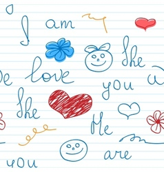 Love doodle note background vector