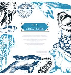 Sea creatures - color vintage postcard template vector