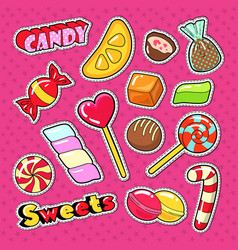Candies chocolate and sweet food stickers vector