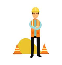 builder character in protective helmet and vest vector image