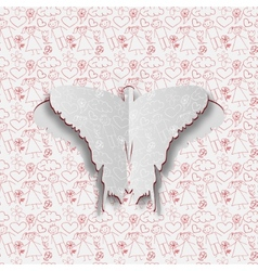 Greeting card with paper butterfly on the hand vector