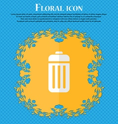 The trash floral flat design on a blue abstract vector