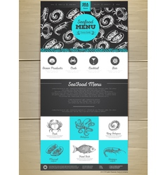 Seafood menu concept web site design vector