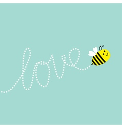 Cute flying bee dash line word love in the sky vector