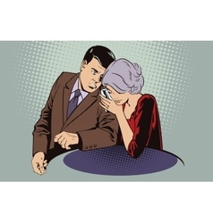 Man and woman conducting a secret conversation vector