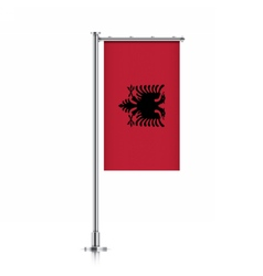 Albania flag hanging on a pole vector