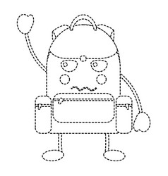 Angry backpack school supplies kawaii icon imag vector