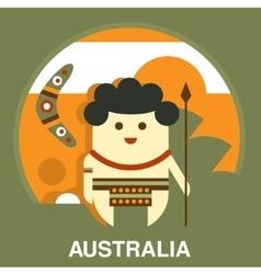 Australian aborigine in flat style vector