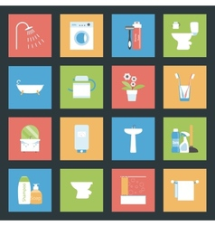 Bathroom flat icons set vector image