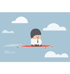 Businessman sitting on the flying carpet vector image vector image