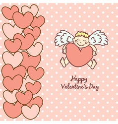 card Happy Valentines Day cupid with heart vector image vector image