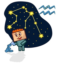 Cartoon Zodiac Aquarius with a rectangular face vector image