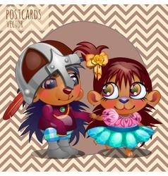 Cute love hedgehogs cartoon series vector image